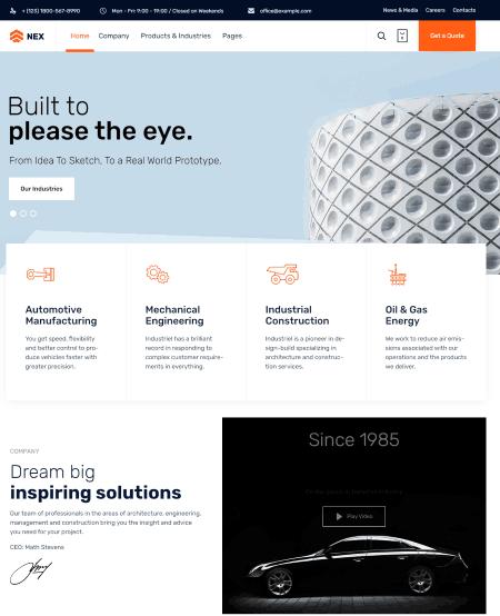 Nex a Factory Industrial Manufacturing WordPress Theme