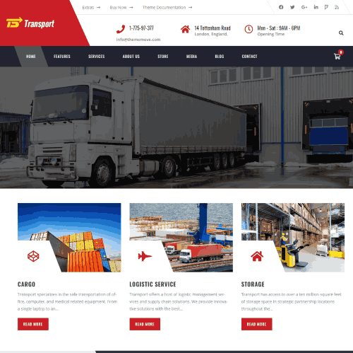 Transport a package website template