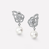 Chanel pearl and diamond earrings