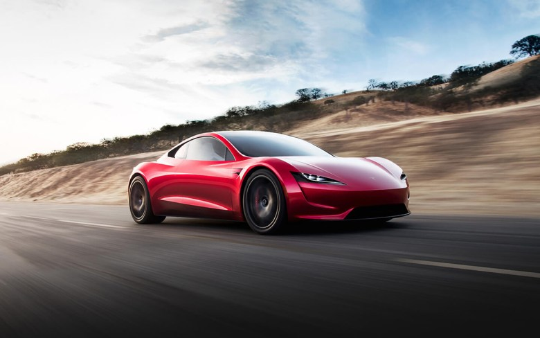 Tesla Roadster in red