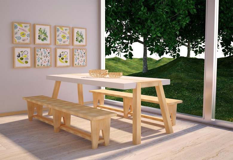 Table and Bench by Trinta Design