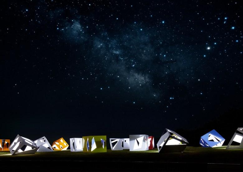 stargazing tea rooms Moriyuki Ochiai public art at night