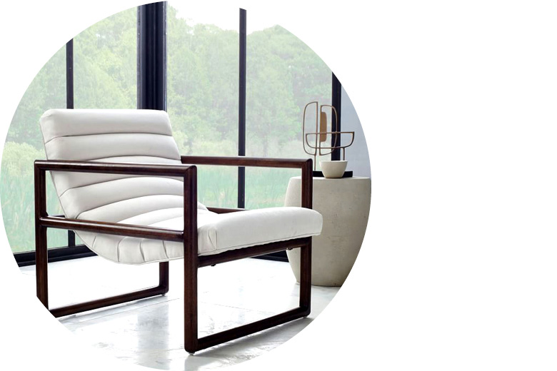 White Dillon armchair by West Elm
