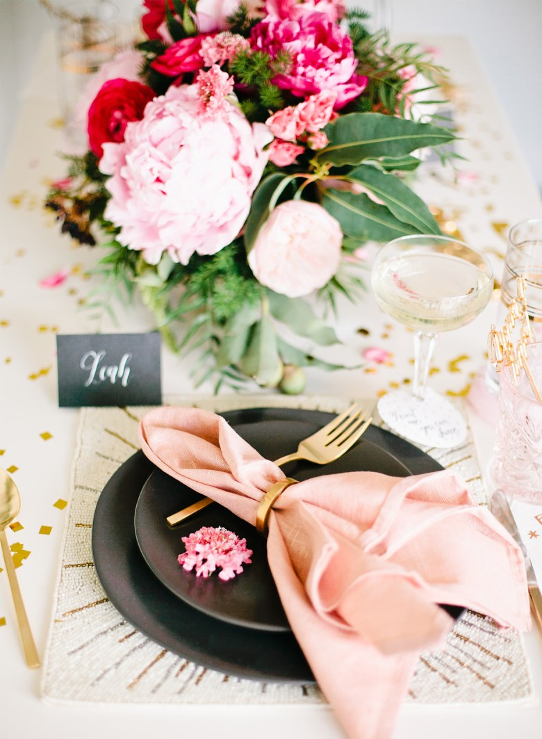 New Years Eve Rose Tablescape