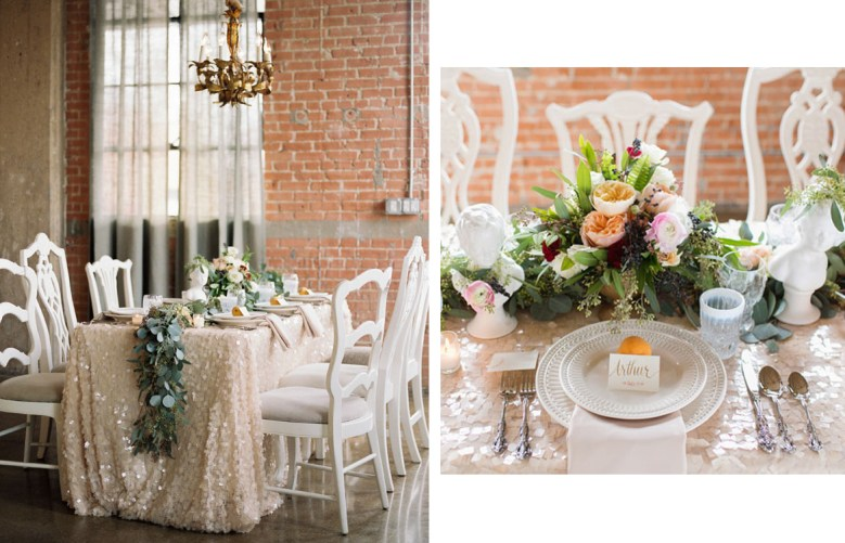 New Year's Eve tablescape sequins by Green Wedding Shoes
