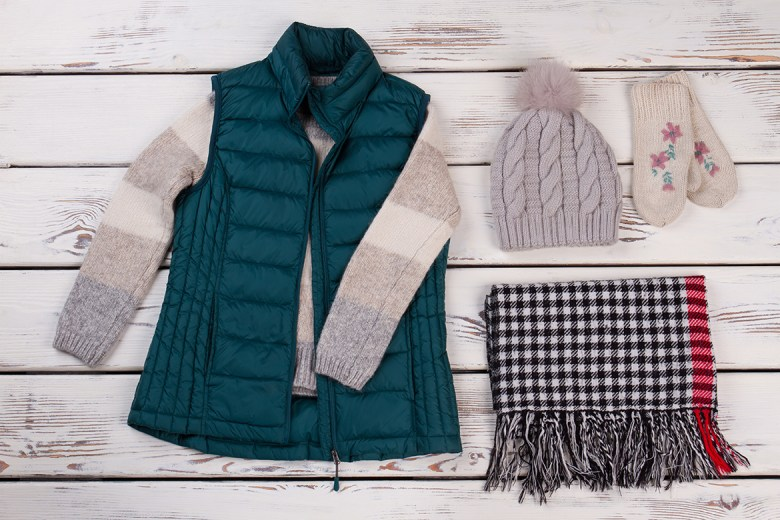 Sweater, vest, hat, mittens and scarf clothing layers