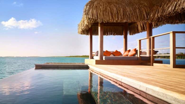 Four Seasons Bora Bora balcony view with infinity pool