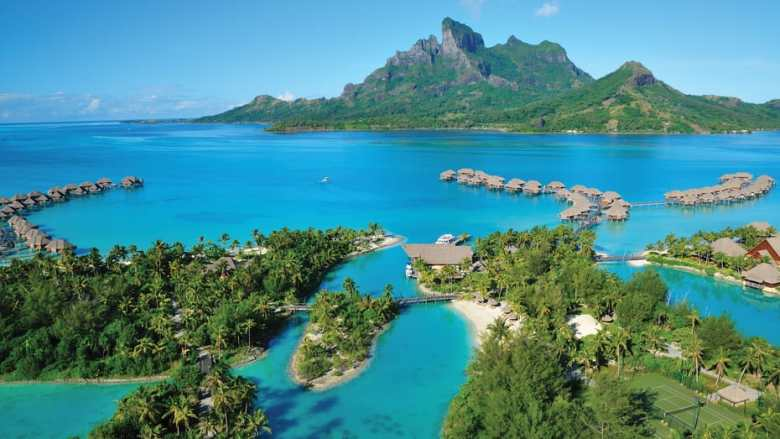 Four Seasons Bora Bora aerial ocean view