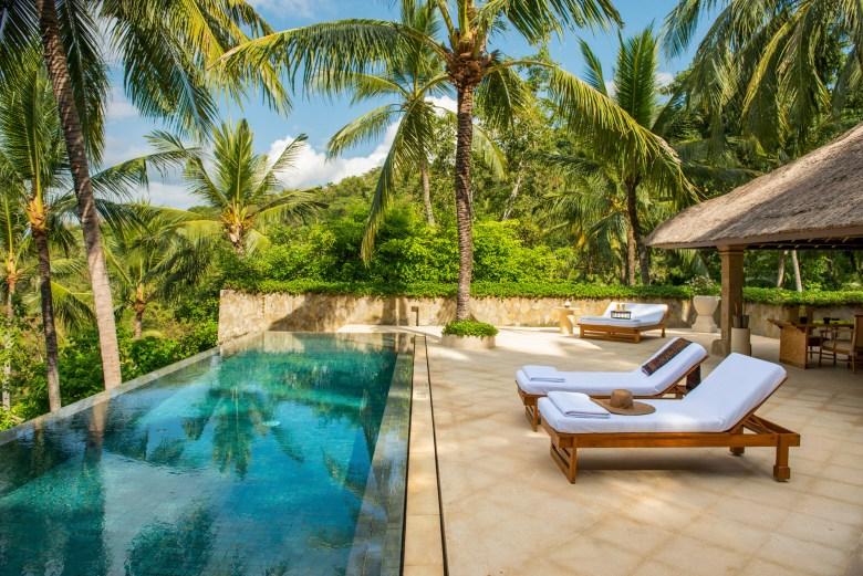 Amandari Ubud, Bali Hotel room balcony and pool