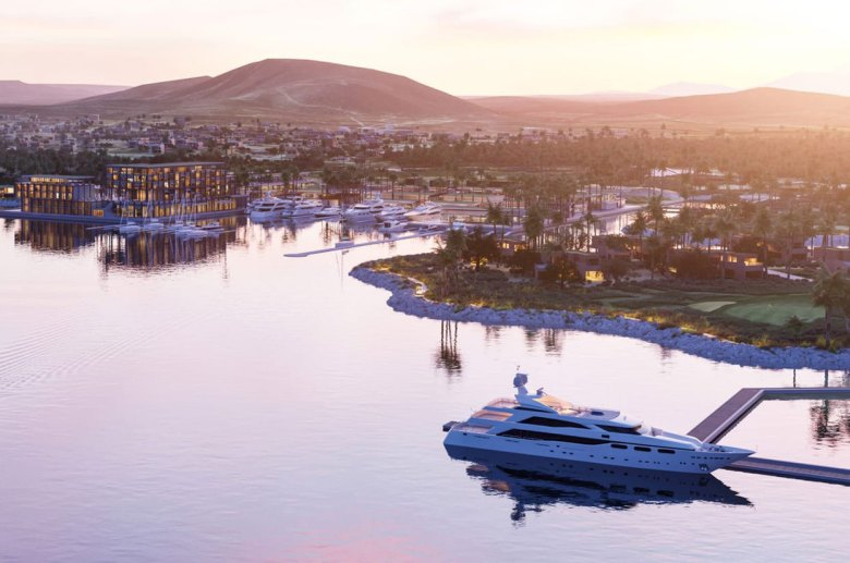 Luxury Yacht in Harbor at Four Seasons Los Cabos