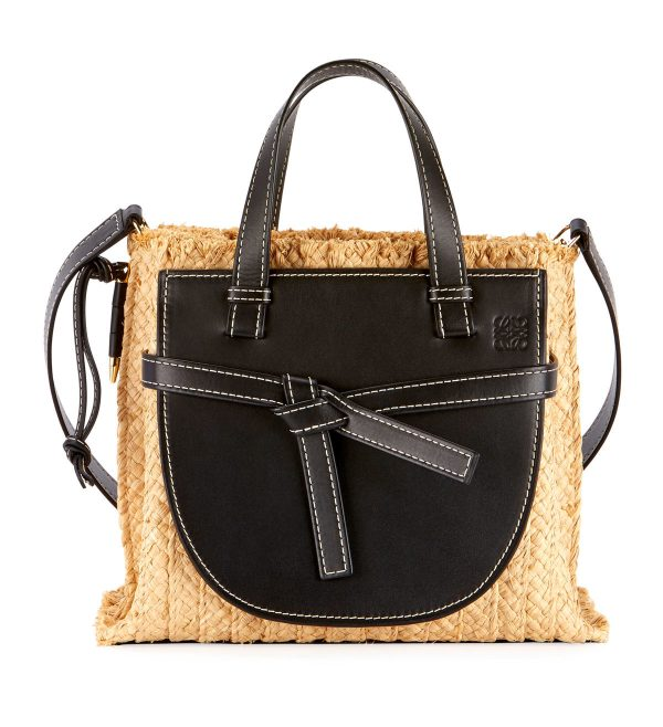 Loewe raffia top-handle tote bag