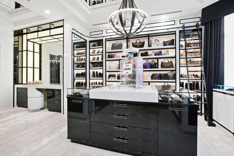 Chanel inspired walk-in wardrobe