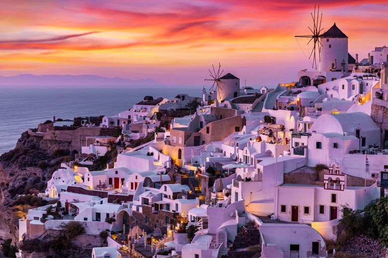 Santorini Greece at Sunset