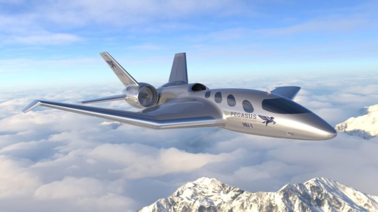 Pegasus Vertical Business Jet Over the Mountains