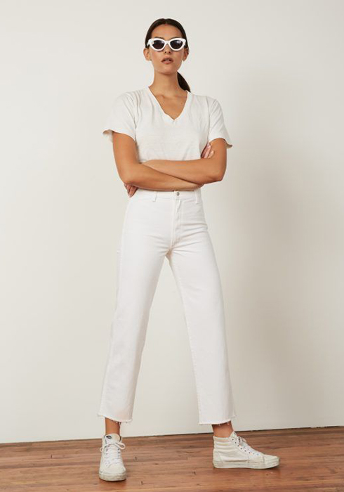 white out look for best denim jeans