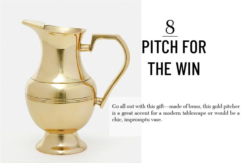 Anthropologie gold pitcher best holiday hostess gift