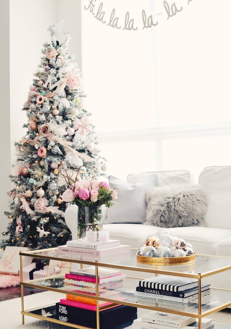 Flocked elegant Christmas tree with pink and metallics