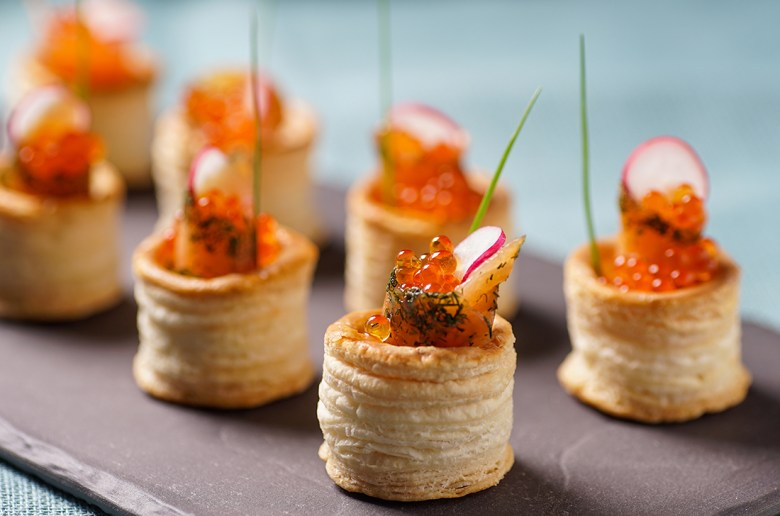salmon and caviar puff pastery appetizer