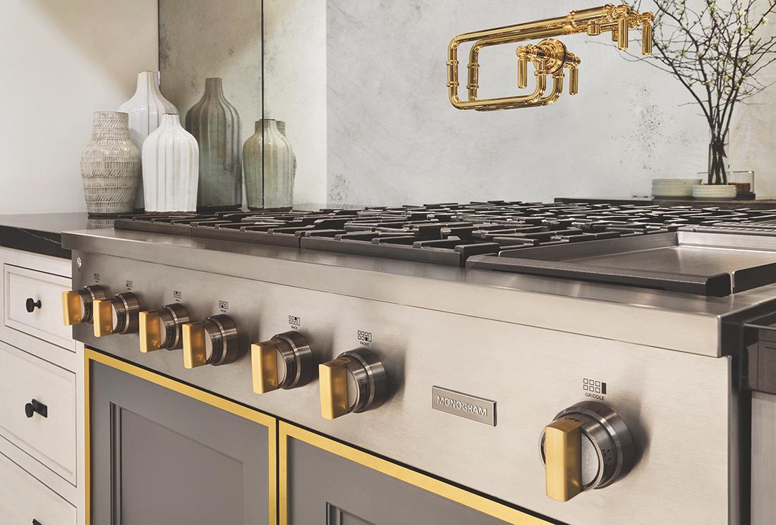 brass detailed luxury kitchen appliances