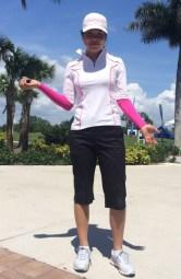Esther Choe, LPGA Symmetra Tour, rockin' the crazy cat top. sun sleeves w pedalpusher