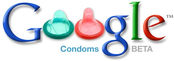 """Faux Google logo with condoms for the """"o"""" in """"Google"""""""