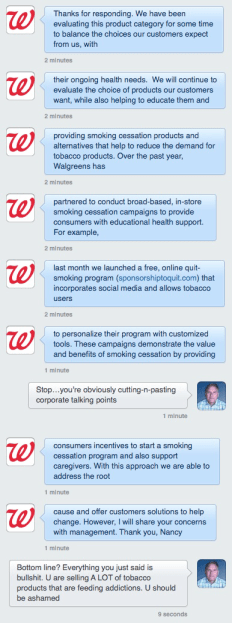 Check out this Twitter direct message stream from Walgreens social media that just came in at 10:45am on 4/3/14