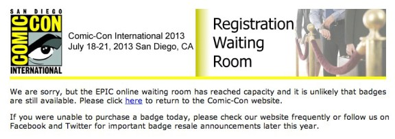 """The EPIC Registration """"waiting room"""" page received at 9:06am PST"""