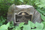 The plaque near the trail headed up to Listening Point