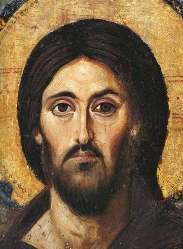 Cristo bendiciendo, particular. Icon  a la encaústica. Siglo VI Sinai.