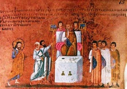 Codex Purpureus Rossanensis. Gesù davanti a Pilato; si notino i ritratti delle autorità imperiali e il ricordo della loro funzione pubblica.