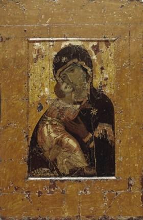 """Madre de Dios  """"Vladímirskaja"""" La tradición atribuye a san Lucas Evangelista el icono de la Madre de  l'icona de la Virgen de  Vladimir, llegada de Constantinopla a Kiev, como don a la familia del Gran Príncipe."""