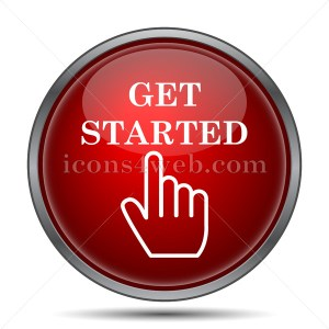 Get started icon. Get started website button on white background - Icons for your website