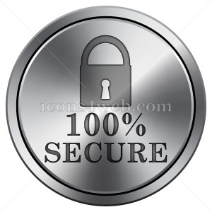 100 percent secure icon. Round icon imitating metal. Secure button. - Icons for your website