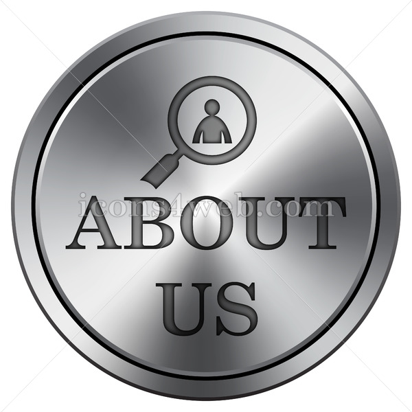 About us icon. Round icon imitating metal. - Icons for your website