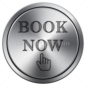 Book now icon. Round icon imitating metal. Carved design. - Icons for your website