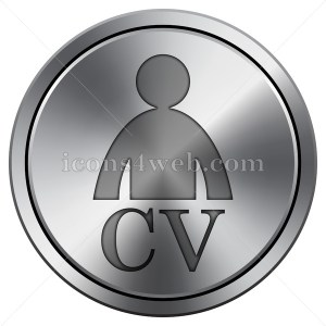 CV icon. Round icon imitating metal. Round CV icon - Icons for your website