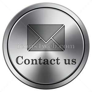 Contact us icon. Round icon imitating metal. E-mail metallic icon. - Icons for your website
