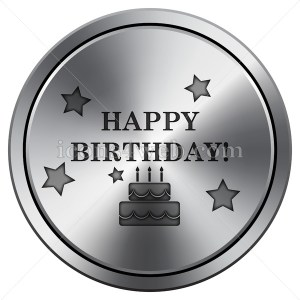 Happy birthday icon. Round icon imitating metal. - Buy Icons for your website