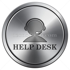 Help desk icon. Round icon imitating metal. Helpdesk button. - Icons for your website
