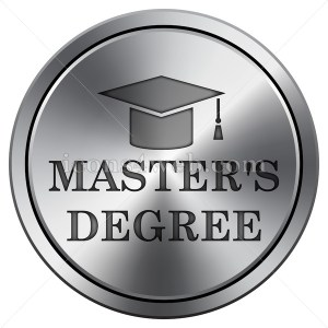 Master's degree icon. Round icon imitating metal. - Buy Icons for your website