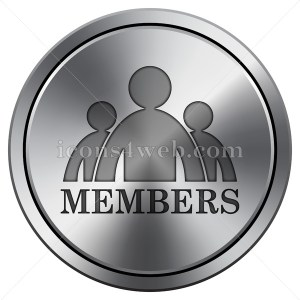 Members icon imitating metal with carved design. Round icon. - Icons for your website