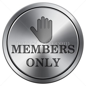 Members only icon imitating metal with carved design. Round icon. - Icons for your website
