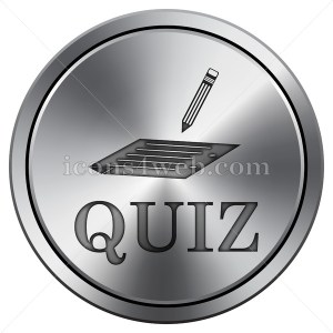 Quiz icon imitating metal with carved design. Round icon with border. - Icons for your website