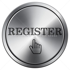 Register icon imitating metal with carved design. Round icon with border. - Icons for your website