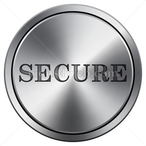 Secure icon. Round icon imitating metal. Secure button. - Icons for your website