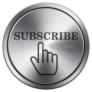 Subscribe icon imitating metal with carved design. Round icon with border. - Icons for your website