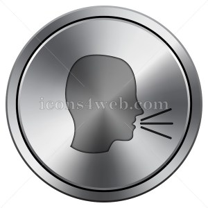 Talking icon. Round icon imitating metal. - Buy Icons for your website