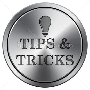 Tips and tricks icon imitating metal with carved design. Round icon. - Icons for your website
