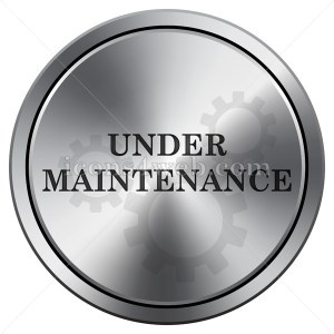 Under maintenance icon. Round icon imitating metal. - Buy Icons for your website