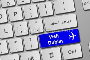 Visit Dublin keyboard button. Buy online tickets concept to visit Dublin - Icons for your website
